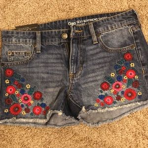 Gap denim shorts with floral patchwork